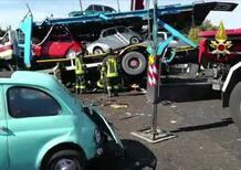 Incidenti, Dramma sulla A1: due morti e tre feriti gravi. Coinvolta una bisarca che trasportava Fiat 500
