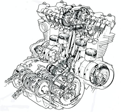 """Questa trasparenza di un motore Honda CB 900 F consente di osservare tra l'altro la trasmissione primaria di tipo """"misto"""" e le due catene di distribuzione, con relativi tenditori e pattini di guida"""