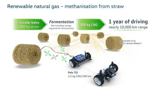 La Polo TGI che teoricamente viaggia un anno con 300 Kg di CNG, equivalenti a 7 balle di fieno