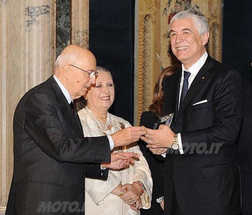 Giorgio Napolitano - Presidente della Repubblica, Laura Biagiotti - Presidente Comitato Premio Leonardo e Gabriele Del Torchio - Amministratore Delegato di Ducati Motor Holding