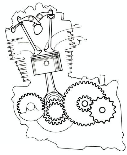 Schema della disposizione degli organi mobili del motore della Honda XL 600 R. Le quattro valvole disposte radialmente permettevano di ottenere una camera di combustione di forma emisferica. L'albero ausiliario di equilibratura è ben visibile nella parte anteriore del basamento