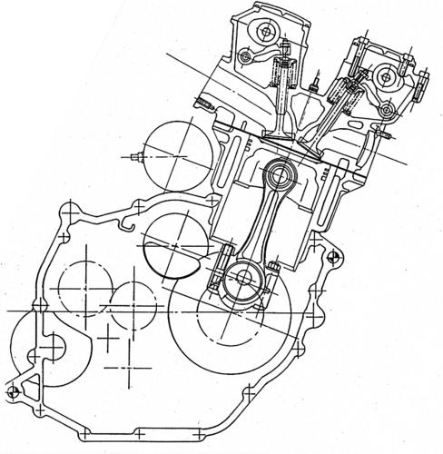 Sezione schematica del monocilindrico Gilera bialbero. Si possono osservare chiaramente i bilancieri a dito (con registro filettato) sui quali agiscono gli alberi a camme, al cui azionamento provvede una cinghia dentata posta sul lato sinistro