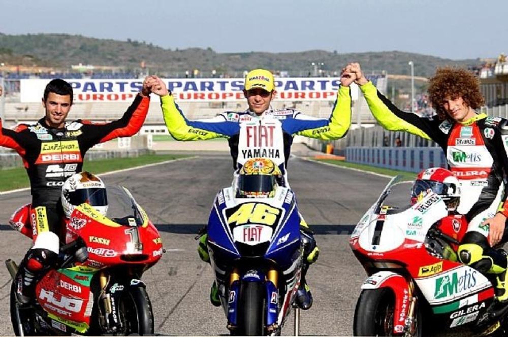 Di Meglio, Rossi e Simoncelli: i Campioni del Mondo 2008