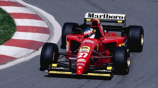 Jean Alesi in azione su Ferrari 412T2 in Canada nel 1995