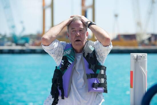 Jeremy Clarkson durante le riprese alle Barbados