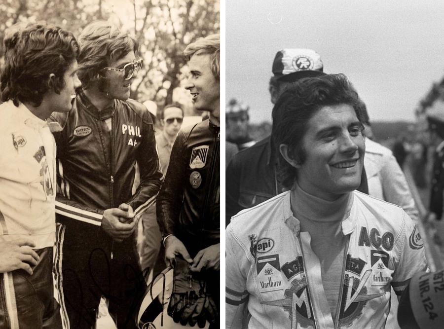 Agostini con Phil Read con tanto di basettoni e occhialoni e Jarno Saarinen. 1971, Imola.