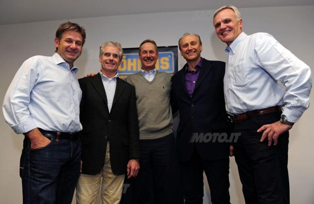 Da sinistra Johnny Braster, Vice Presidente Ohlins, Rinaldi, Kenth Ohlin, Andreani e Alborghetti