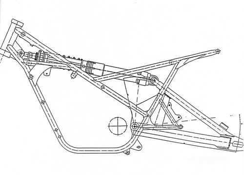 Il disegno (cortesemente fornito dal prof. Laimbock del Politecnico di Graz) mostra il telaio e la sospensione posteriore Monocross con singolo elemento elastico-ammortizzante di una Yamaha TZ 250 della seconda metà degli anni Settanta