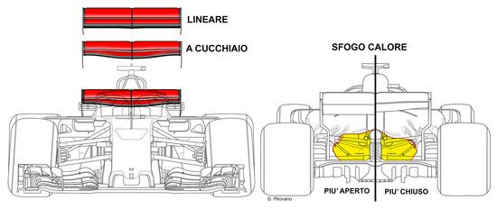 Il dettaglio dell'ala posteriore portata dalla Ferrari a Silverstone