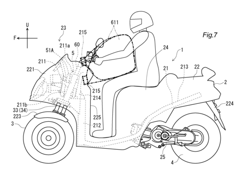 L'Airbag per scooter e i brevetti Yamaha (2)