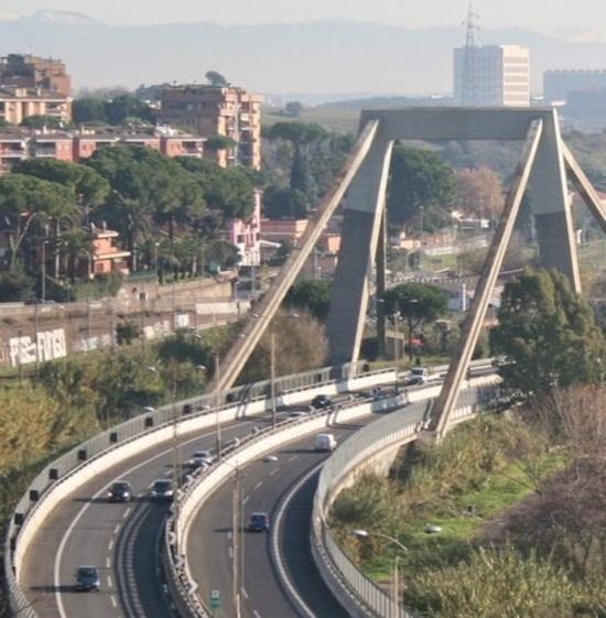 Il ponte sulla Roma-Fiumicino progettato da Riccardo Morandi