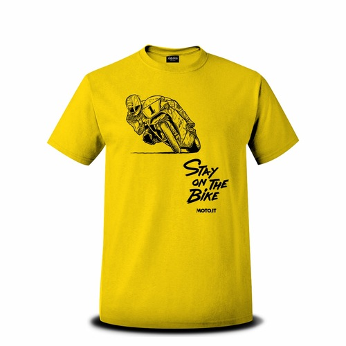 T-shirt con con logo vintage di Michael Doohan in sella alla Honda NSR 500 e la scritta Stay on the bike