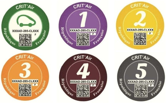 I bollini francesi per l'ecologia delle auto: multicolor