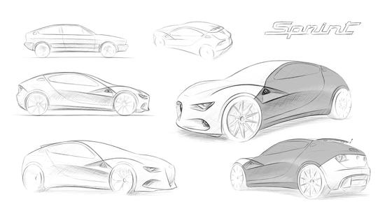 I bozzetti della nuova Alfa E-Sprint ispirata Alfasud