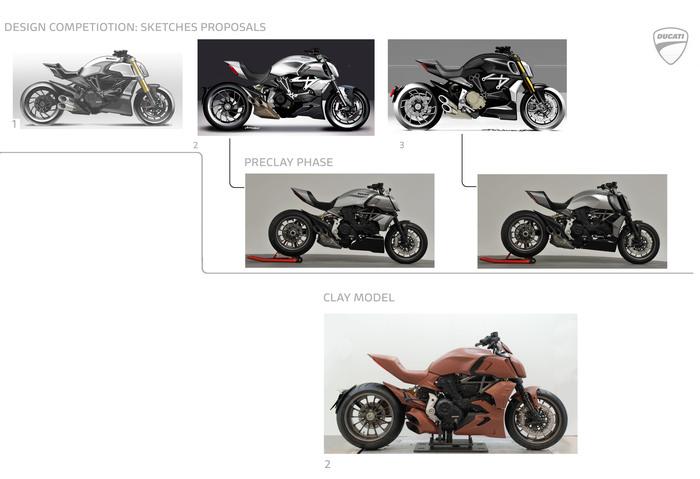 I disegni dei tre progetti iniziali, i due modelli in scala e la versione vincente alla modellazione clay