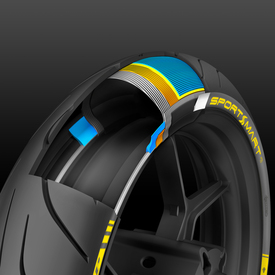 La struttura dello pneumatico anteriore. Si notano le due tele in Rayon (grigio e arancione) e il nuovo JLB monofilamento (azzurro)
