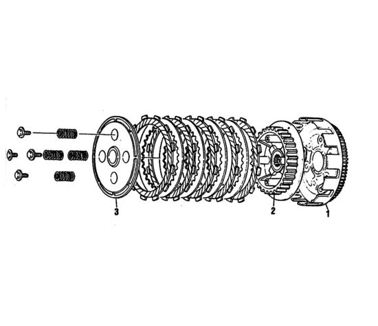 Vista esplosa di una tipica frizione motociclistica a dischi multipli. 1= campana, 2= mozzo, 3= piatto spingidisco. In questo caso gli intagli praticati sui dischi conduttori non sono radiali ma inclinati per agevolare la fuoriuscita dell'olio