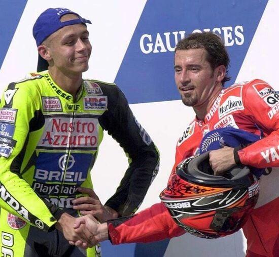 Valentino Rossi e Max Biaggi ai tempi della 500
