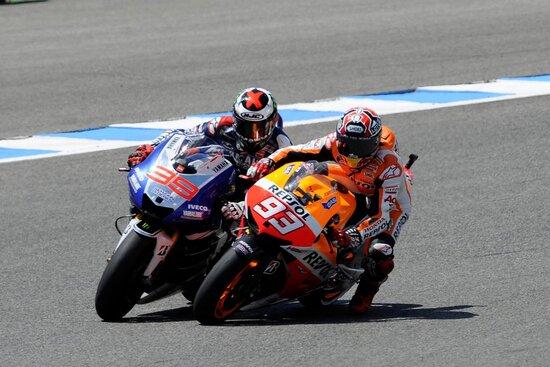 Marquez infila Lorenzo sulla stessa ultima curva di Jerez, 2013