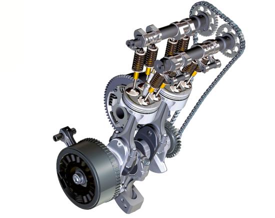 """Per la sua F 800, apparsa nel 2006, la BMW ha scelto di impiegare un equilibratore dinamico del tipo """"a batacchio"""", con biella ausiliaria e massa oscillante. In precedenza una soluzione di questo genere era stata proposta dalla Jawa e adottata dalla Ducati per il suo Supermono"""