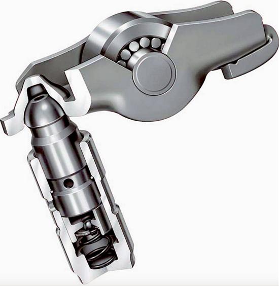 1-Nella maggior parte dei motori automobilistici prodotti in gran serie le valvole vengono azionate da bilancieri a dito montati su supporti idraulici muniti di testa sferica (quello qui mostrato è prodotto dalla tedesca INA). Si tratta di un ottimo esempio di soluzione tecnica largamente standardizzata