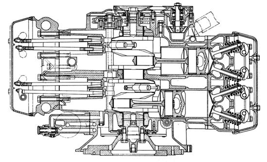 2-Sezione del motore della Lancia Flavia, prodotta dal 1960 al 1971. Le valvole giacciono sullo stesso piano che contiene l'asse dell'albero a gomiti. In altre parole, sono disposte longitudinalmente e non trasversalmente, come vuole la soluzione usuale