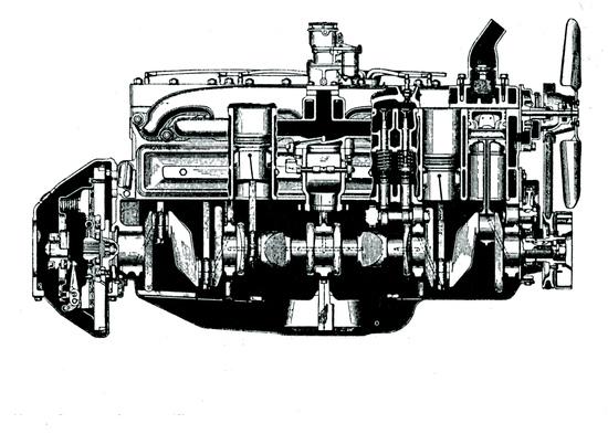Prima della seconda guerra mondiale negli USA i motori a otto cilindri in linea sono stati impiegati su molte vetture costruite in gran serie. Quello qui mostrato in sezione è un Packard a valvole laterali, rimasto in produzione pressoché invariato dagli anni Venti ai primi anni Cinquanta