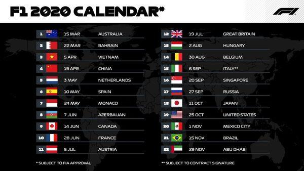Settimane Calendario 2020.F1 Ecco Il Calendario Provvisorio 2020 22 Gare C E Anche