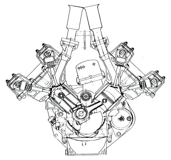 Durante i cinque anni della F1 di 1500 cm3 i V8 hanno conquistato il titolo quattro volte. Questa sezione consente di osservare il disegno e la disposizione dei principali componenti del Coventry-Climax, impiegato dalla Lotus