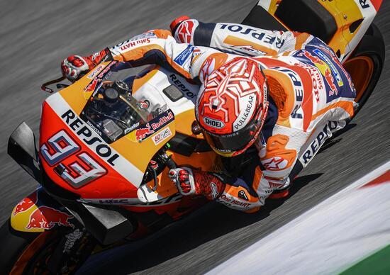 MotoGP 2019. Marc Marquez davanti a tutti nel warm-up di Misano