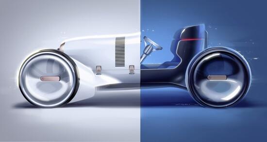 La Mercedes Vision Simplex vista di profilo