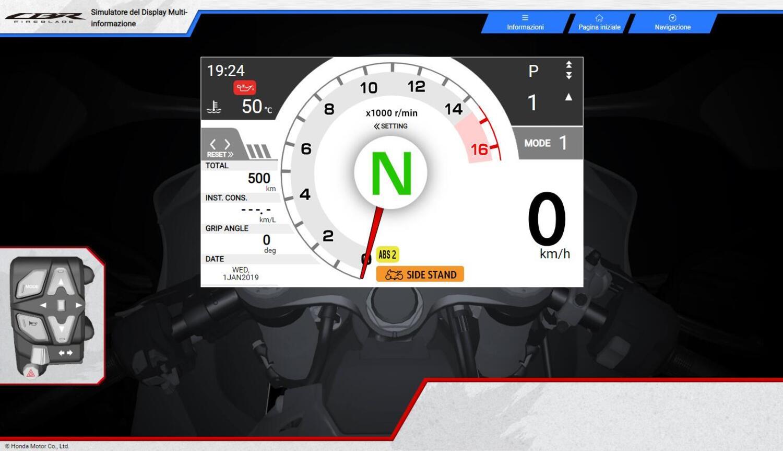 CBR1000RR-R Fireblade 2020. Online su sito Honda il simulatore della strumentazione