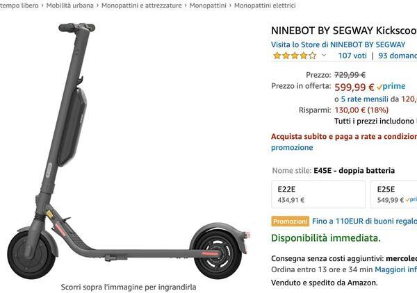 Amazon Prime Day. Monopattini elettrici, 5 offerte imperdibili