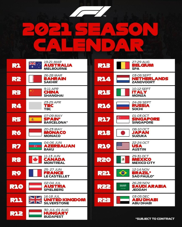 F1 2021, calendario da 23 gare. Salta il Vietnam, Imola sogna
