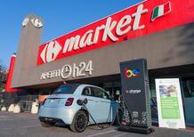 La Fiat 500 elettrica? Si ricarica al Carrefour