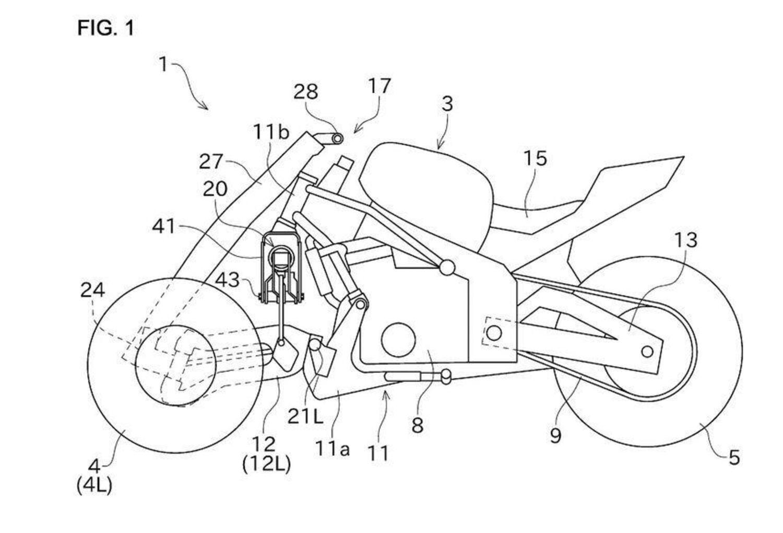 Kawasaki: spunta il brevetto per una moto sportiva a tre ruote