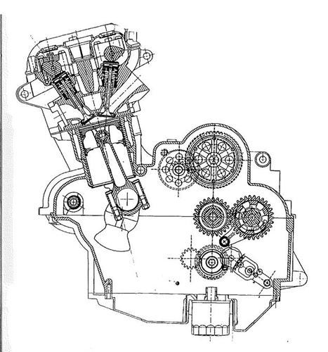 la nuova Triumph è rientrata in grande stile sulla scena motociclistica con moderni motori bialbero ad acqua a quattro e tre cilindri (che hanno avuto il maggior successo), come quello qui mostrato in sezione
