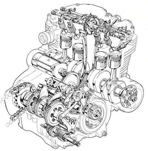 Il motore di 350 cm3 riprendeva le stesse soluzioni costruttive di quello della CB 500 Four. Tra le differenze, spiccavano il cambio, la frizione e il sistema di tensionamento della catena di distribuzione