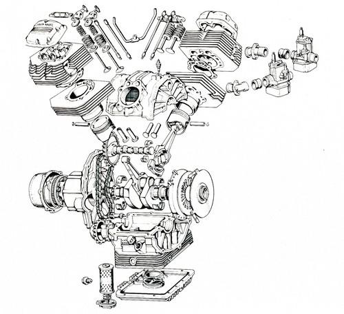 """I primi bicilindrici Guzzi a V della serie """"piccola"""" sono stati quelli della V35 e della V 50. Nel disegno sono ben visibili il basamento diviso in due parti e le due valvole parallele alloggiate in ogni testa"""