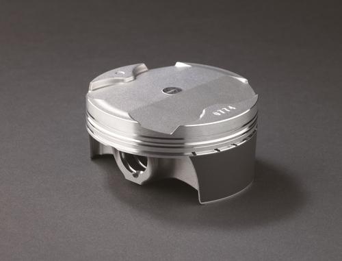 I pistoni della ZX-R sono forgiati in una lega di alluminio diversa da quella impiegata in precedenza e hanno un riporto superficiale a basso attrito sul mantello. Spiccano la conformazione del cielo e l'altezza estremamente ridotta rispetto al diametro