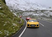 Audi R8 V10 plus Coupé: regina estiva delle alpi