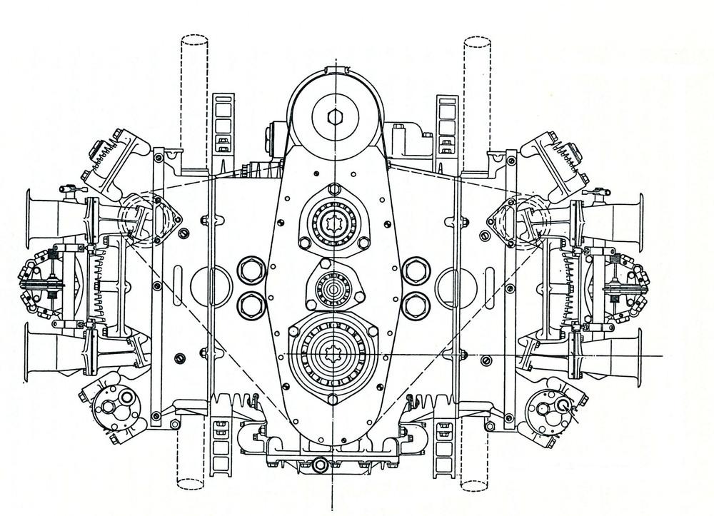1-Nel BRM 3000 a 16 cilindri di Formula Uno, dalla inconfondibile architettura ad H, gli scarichi erano verticali (otto rivolti verso l'alto e otto verso il basso) e i condotti di aspirazione erano orizzontali (otto da un lato e otto dall'altro)