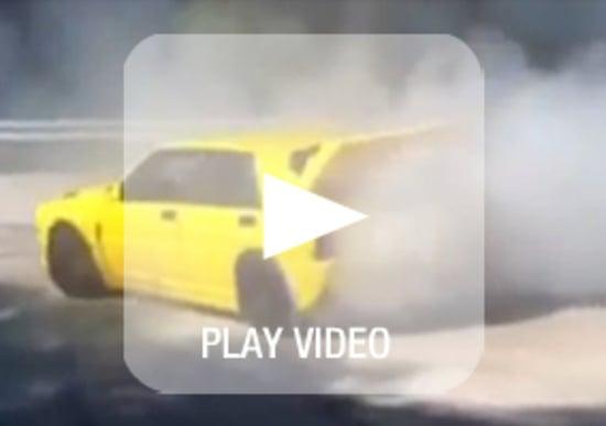 Loris Capirossi in drift con la sua Lancia Delta