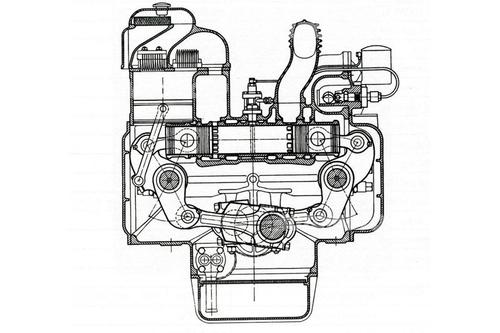 Alcuni motori a pistoni opposti avevano un solo albero a gomiti, che veniva azionato mediante due bielle e un grosso bilanciere per ogni cilindro