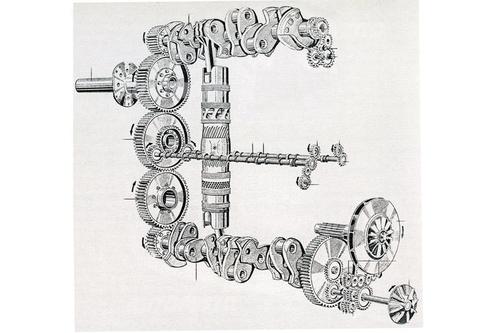 Lo schema più impiegato, per i motori a pistoni opposti (due per ogni cilindro), prevede due alberi a gomiti collegati da ingranaggi