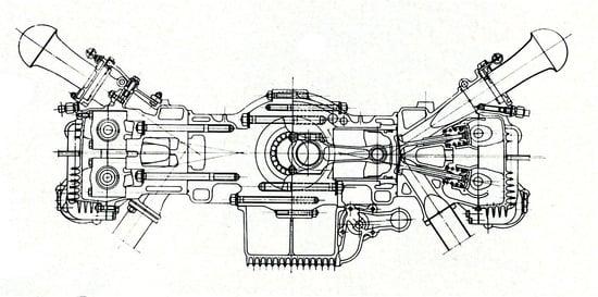 """La sezione del motore Ferrari a dodici cilindri contrapposti di Formula Uno. Si possono tra l'altro notare il ridotto angolo tra le valvole (solo 20°), le canne dei cilindri riportate, con la parte superiore """"umida"""". (Immagine da rivista ATA)"""