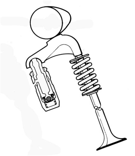 Negli anni Ottanta la Honda ha impiegato bilancieri a dito in abbinamento con supporti idraulici a testa sferica. In questo caso il pattino sul quale agiva la camma si trovava in posizione pressoché intermedia tra il fulcro e la valvola