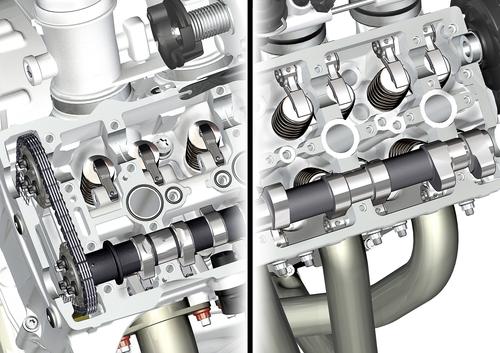 L'immagine mostra due soluzioni prese in esame dalla BMW per il comando valvole del quadricilindrico S 1000 RR. In entrambi i casi si impiegano bilancieri a dito, ma il loro dimensionamento è diverso. Inoltre, la posizione dei fulcri è differente. Lo schema più moderno è quello di sinistra