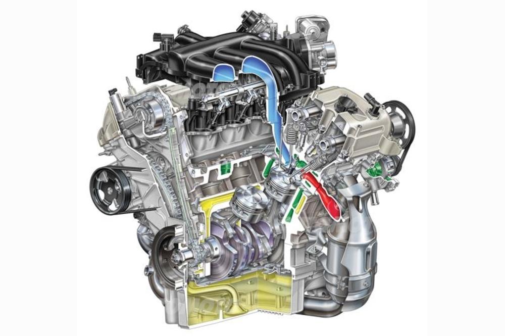 Lo stato dell'arte nel campo dei motori a sei cilindri a V (in questo caso di 60°) è ben mostrato da questa recente realizzazione della Ford, con distribuzione bialbero e quattro valvole per cilindro