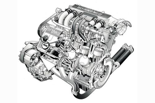 Nel motore Alfa Romeo con sei cilindri a V di 60°, apparso sul finire degli anni Settanta, spiccava l'inconsueta distribuzione, con un albero a camme per ogni bancata, qui ben visibile
